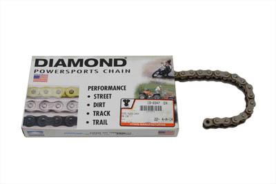 Diamond .530 104 Link Chain Nickel Plated for Harley & Customs