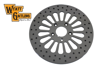 Polished 18 Spoke Wyatt Gatling Front Rotors for 1984-1999 Big Twin