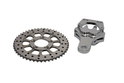 Chrome Rear 4 Piston Caliper and 10 inch drilled Disc Sprocket Kit