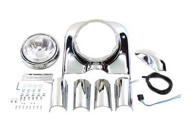 7 inch Chrome Headlamp Cowl Kit for 1980-1992 FLT-FLHT