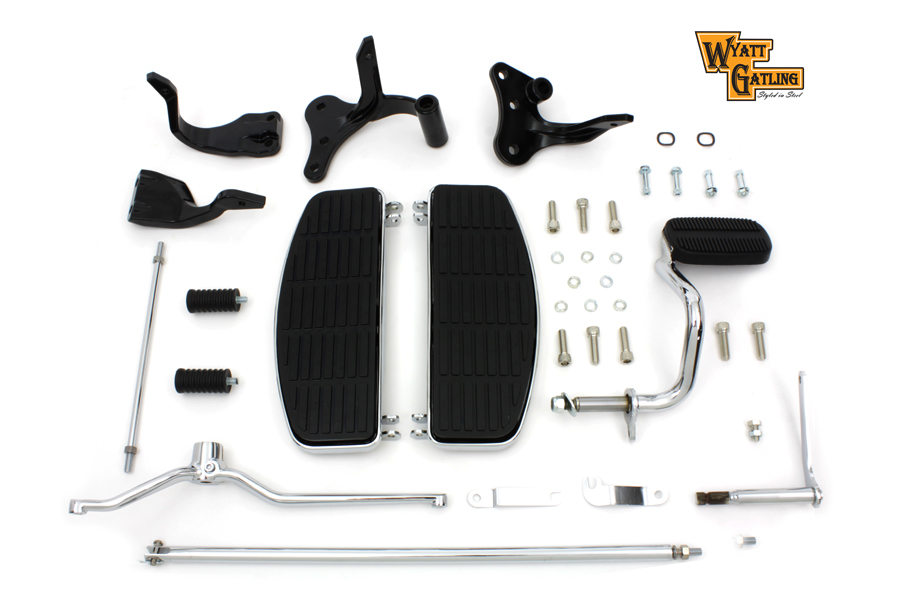 Driver Wyatts Footboard Kit Black Brackets Harley 1996-UP FXD