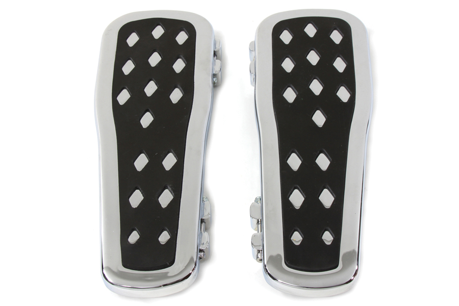 Chrome Diamond Big Foot Footboard Set for Harley FLT FLST