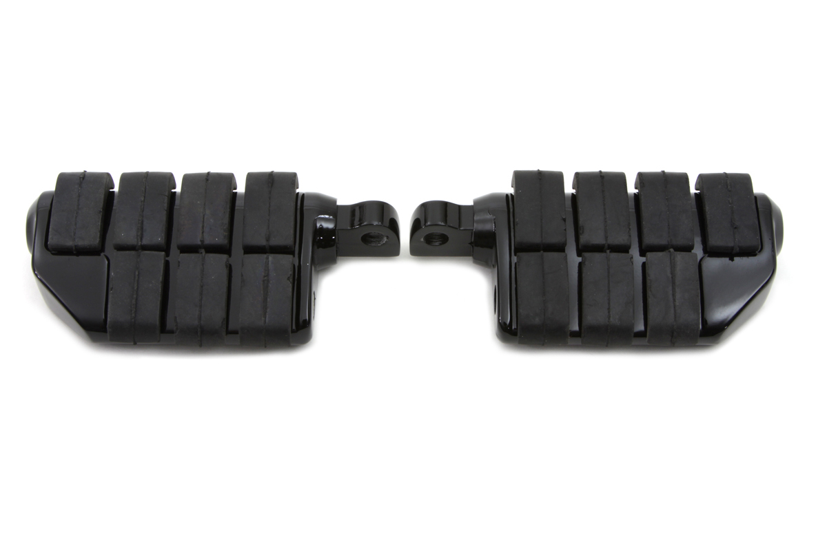 Black Double Wide Cats Paw Footpeg Set Male Ends