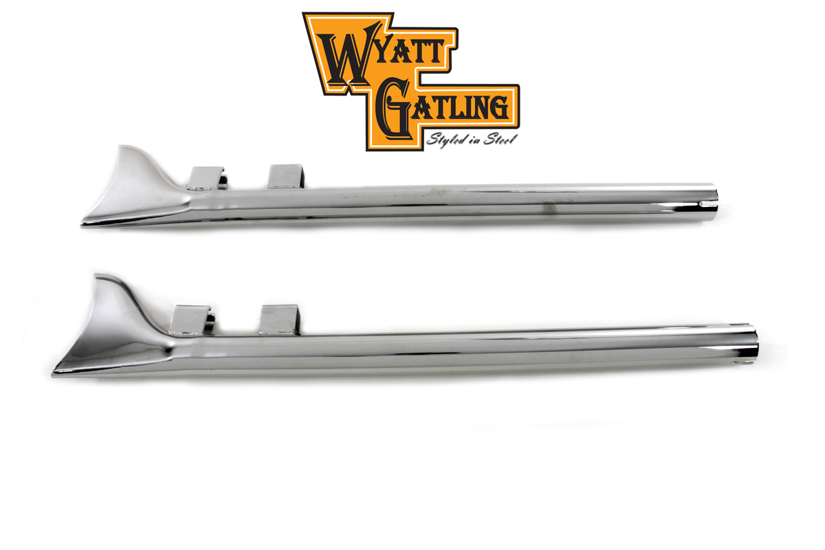Chrome 29 in. Straight Fishtail Kit for FLT 1985-1994 Harley Touring