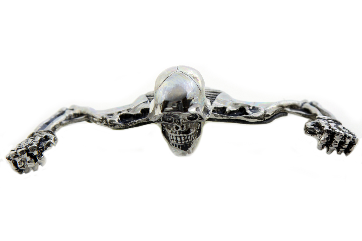 "7"" Headlamp Visor Ornament Chrome Skull Type"