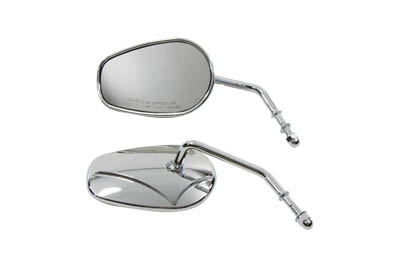 Chrome Rectangle Mirror Set with Round Stems for 1965-up Harley