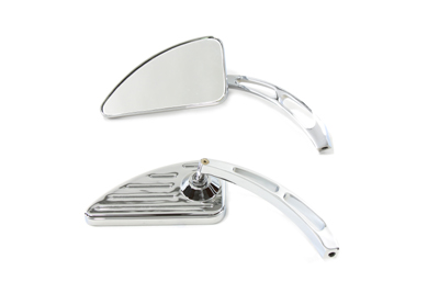 Chrome Grooved Profile Mirror Set with Slotted Stems for Harley