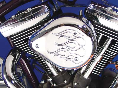 Chrome Flame Tear Drop Air Cleaner Kit for 1992-99 Harley Big Twins