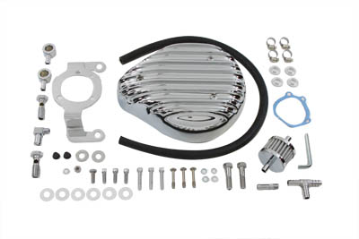 Chrome Finned Tear Drop Air Cleaner Kit for 1992-99 harley Big Twins
