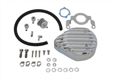 Chrome Finned Tear Drop Air Cleaner Kit for 1999-07 Harley Big Twins