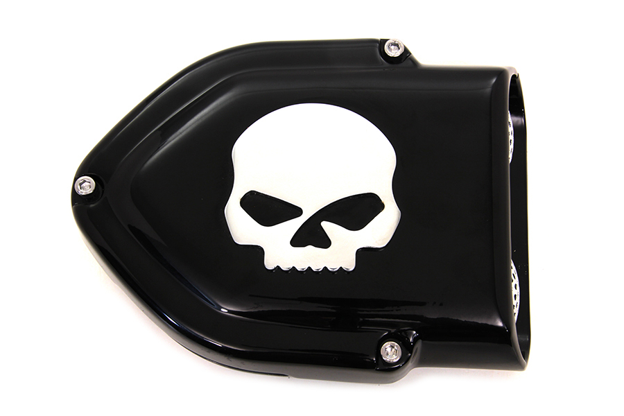 Black V-Charger Air Cleaner with Chrome Skull for CV Carbs