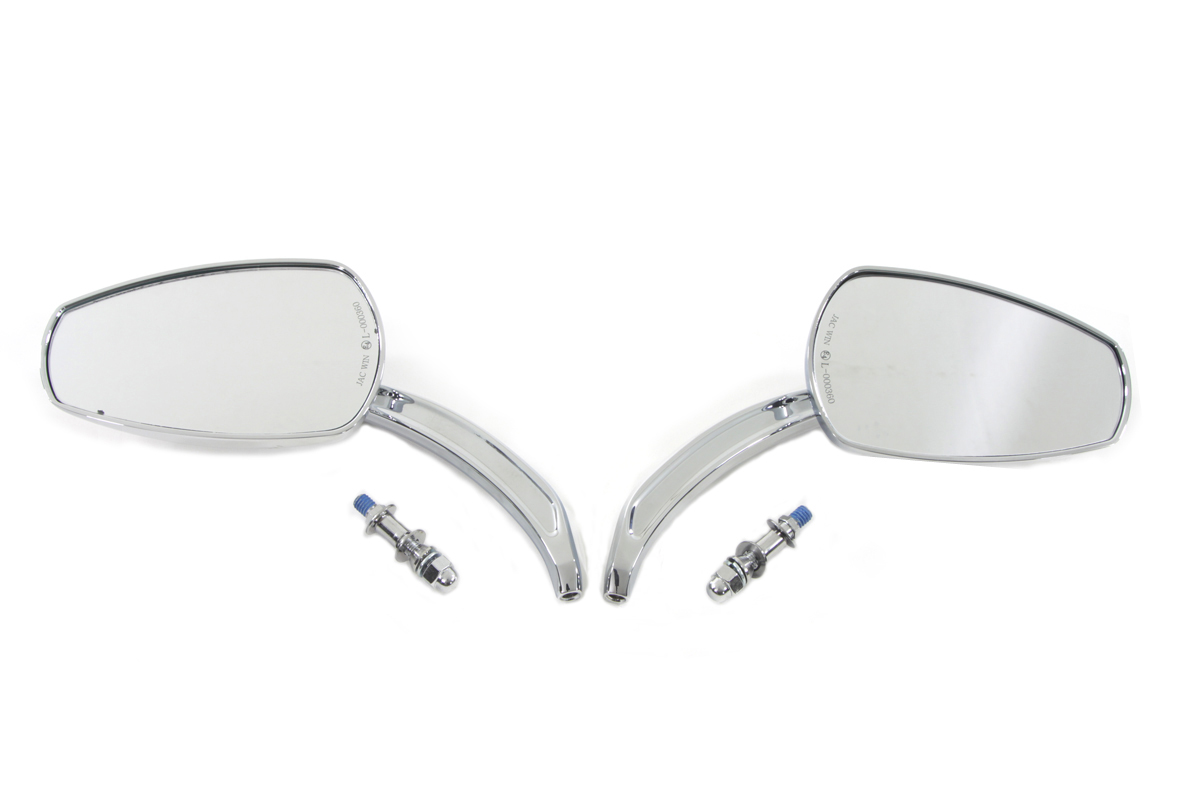 Chrome Tear Drop Mirror Set with Billet Stems for 1965-UP Models