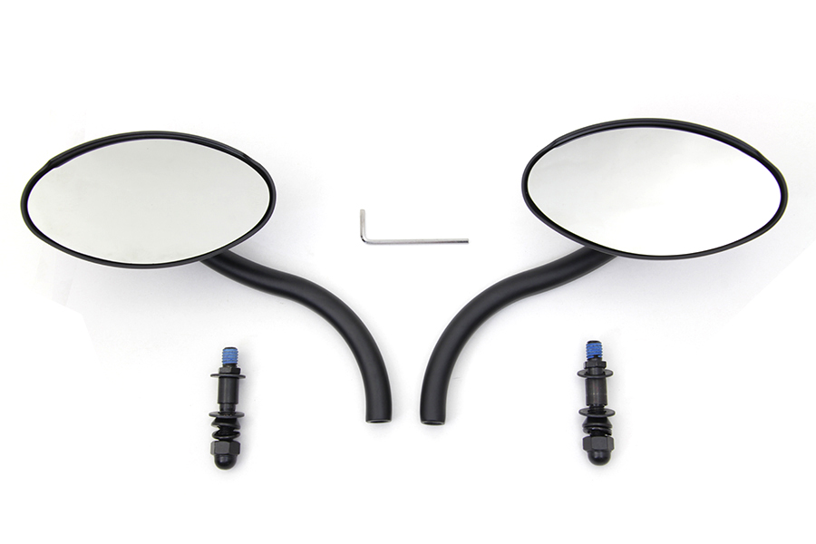 Black Oval Mirror Set with Contour Round Stems