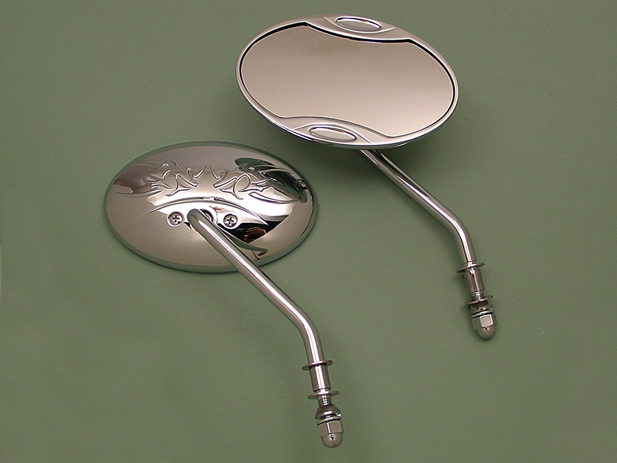 Chrome Oval Mirrors Set w/ Angle Stem for Harley & Choppers