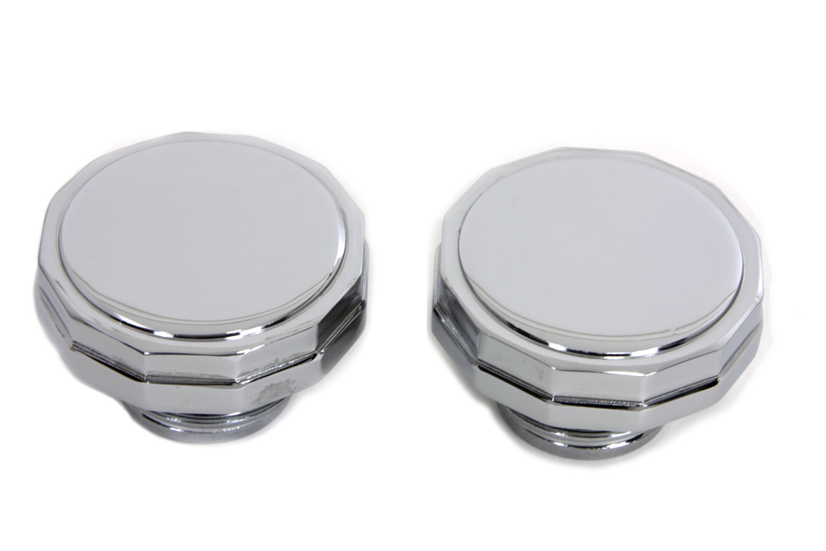 Chrome Hexagon Style Vented and Non-Vented Gas Cap Set