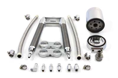 Dual Tube Vertical Style Oil Cooler Kit for 1986-99 Harley Softails