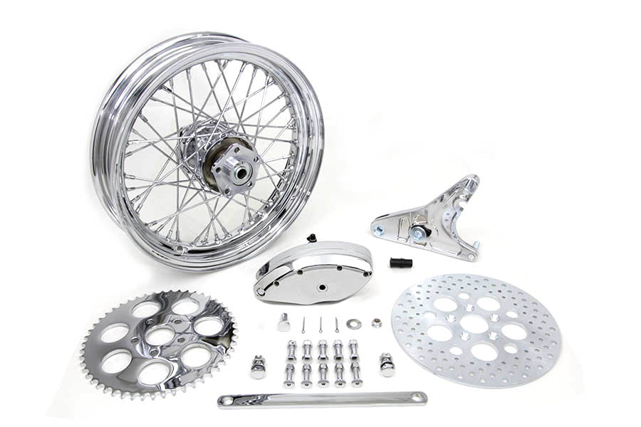 "16"" x 3.00"" Rear Wheel Kit with Caliper Chrome for FX & FL 1973-85"